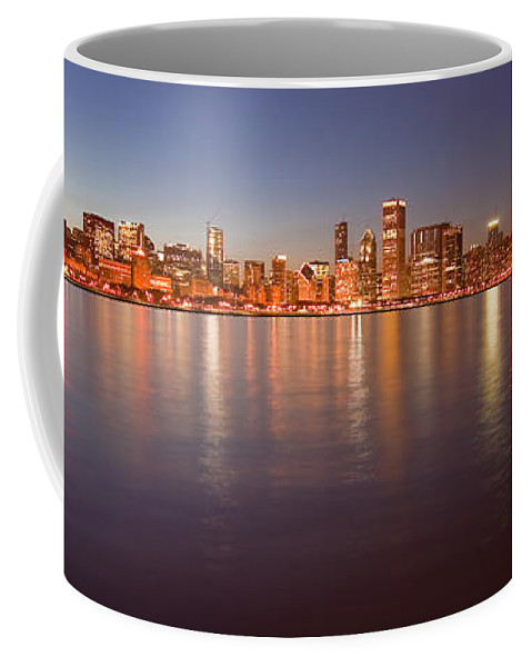 Chicago Coffee Mug featuring the photograph Chicago dusk skyline panoramic by Sven Brogren