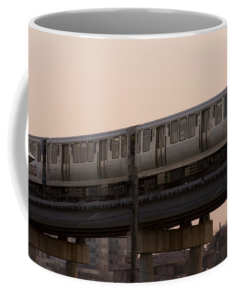 Chicago Windy City El Elevated Train Urban Metro Passanger Transport Transportation Coffee Mug featuring the photograph Chicago El by Andrei Shliakhau