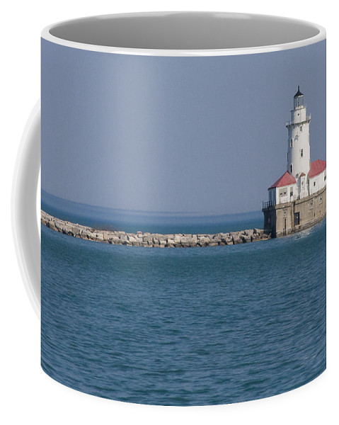 Chicago Windy City Lighthouse Light Harbor Lake Michigan Water Blue Sky Red Roof Safe Guide Coffee Mug featuring the photograph Chicago Harbor Lighthouse by Andrei Shliakhau