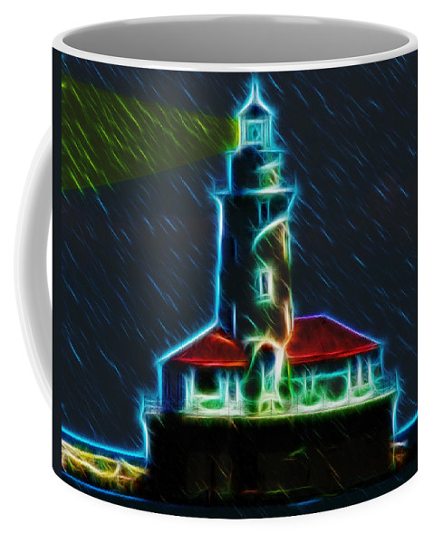 Chicago Coffee Mug featuring the digital art Chicago Harbor Lighthouse by Chris Flees