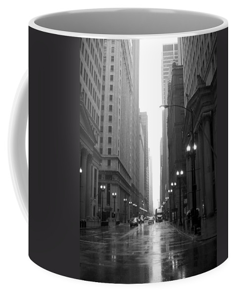 Chicago Coffee Mug featuring the photograph Chicago In The Rain 2 B-w by Anita Burgermeister
