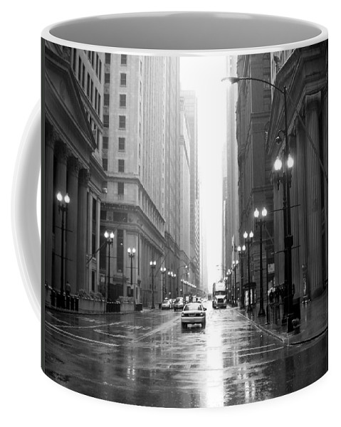 Chicago Coffee Mug featuring the photograph Chicago In The Rain B-w by Anita Burgermeister