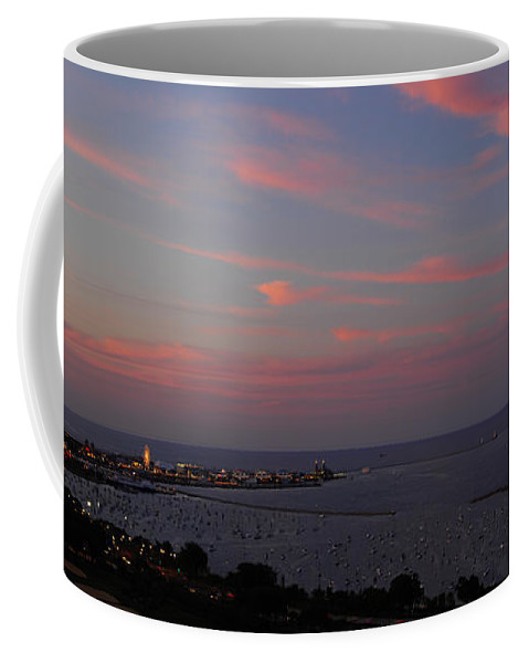 Chicago Coffee Mug featuring the photograph Chicago Lakefront At Sunset by Michael Bessler