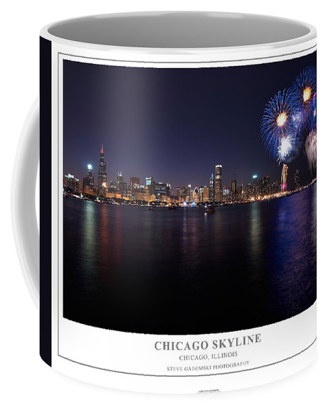 4th Coffee Mug featuring the photograph Chicago Lakefront Skyline Poster by Steve Gadomski