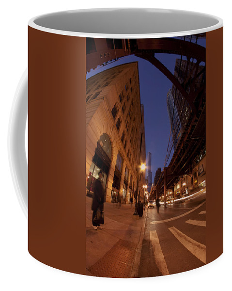 Chicago Coffee Mug featuring the photograph Chicago Loop At Dusk by Sven Brogren