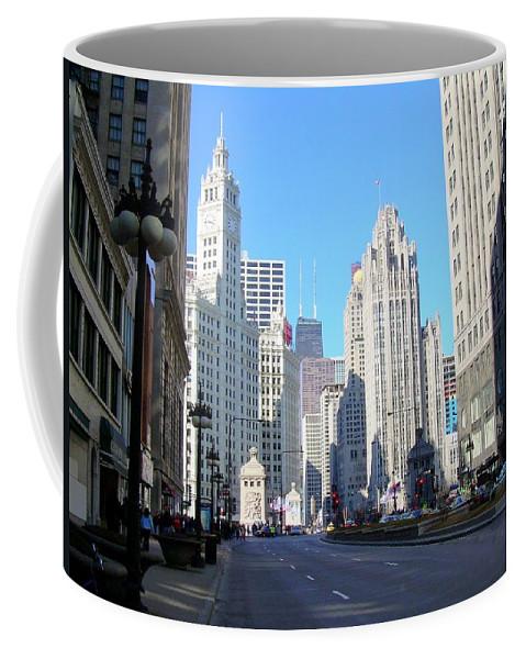 Chicago Coffee Mug featuring the photograph Chicago Miracle Mile by Anita Burgermeister