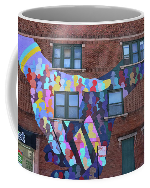 Mural Coffee Mug featuring the photograph Chicago Mural - Coming Together by Allen Beatty