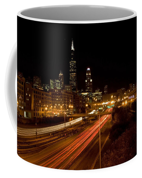 Chicago Skyline Coffee Mug featuring the photograph Chicago Night Skyline by Sven Brogren