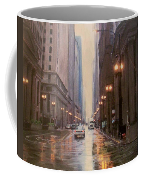 Chicago Coffee Mug featuring the painting Chicago Rainy Street by Anita Burgermeister