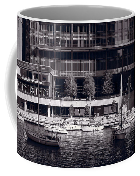 Chicago Coffee Mug featuring the photograph Chicago River Boats Bw by Steve Gadomski