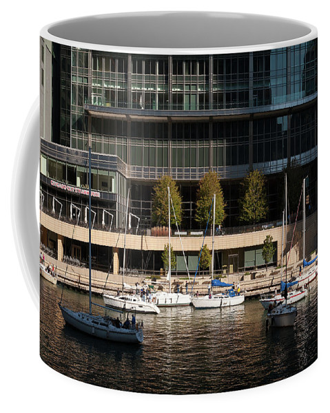 Chicago Coffee Mug featuring the photograph Chicago River Boats by Steve Gadomski
