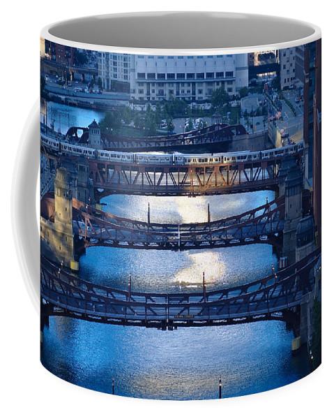 Bridge Coffee Mug featuring the photograph Chicago River First Light by Steve Gadomski