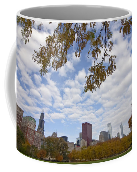 Fall Colors Coffee Mug featuring the photograph Chicago Skyline And Fall Colors by Sven Brogren