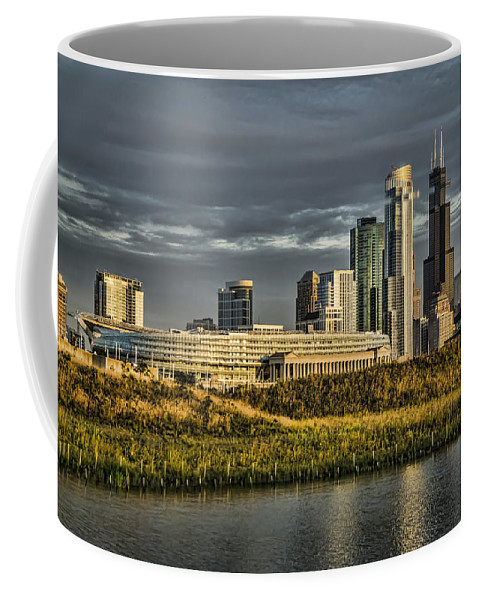 Chicago Coffee Mug featuring the photograph Chicago Skyline And Nature Preserve At Sunrise by Sven Brogren