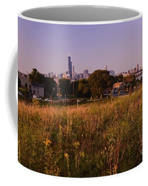 Chicago Skyline Coffee Mug featuring the photograph Chicago Skyline And Neighborhood Prairie by Sven Brogren
