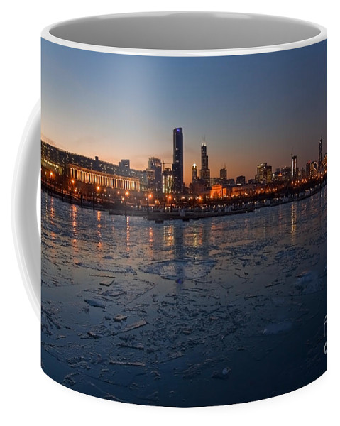Chicago Coffee Mug featuring the photograph Chicago Skyline At Dusk by Sven Brogren
