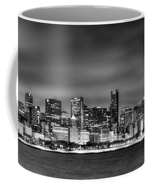 Chicago Skyline Coffee Mug featuring the photograph Chicago Skyline At Night Black And White by Jon Holiday