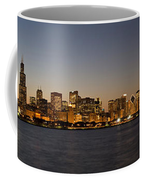 Chicago Coffee Mug featuring the photograph Chicago Skyline Panorama by Steve Gadomski