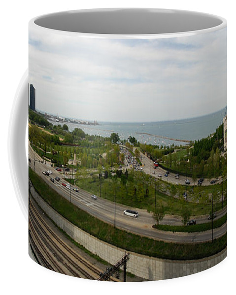 Chicago Coffee Mug featuring the photograph Chicago Skyline Showing Monroe Harbor by Michael Bessler