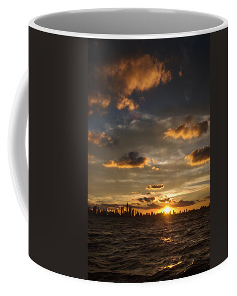 Boat Coffee Mug featuring the photograph Chicago Skyline Sunset by Steve Gadomski