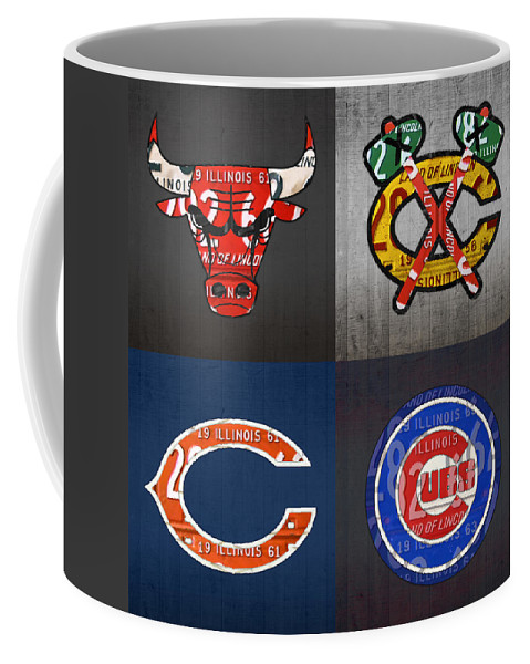 Chicago Coffee Mug featuring the mixed media Chicago Sports Fan Recycled Vintage Illinois License Plate Art Bulls Blackhawks Bears And Cubs by Design Turnpike