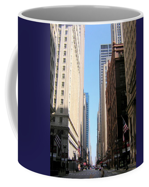 Chicago Coffee Mug featuring the photograph Chicago Street With Flags by Anita Burgermeister