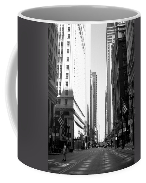 Chicago Coffee Mug featuring the photograph Chicago Street With Flags B-w by Anita Burgermeister