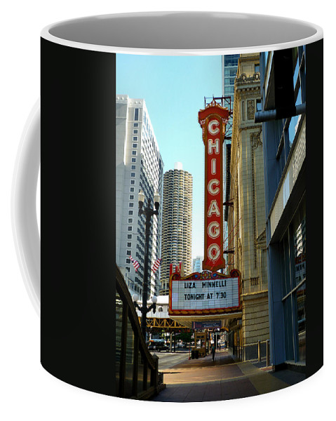 Chicago Theater Marquee Coffee Mug featuring the photograph Chicago Theater - 1 by Ely Arsha