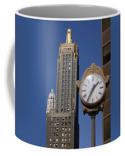 Chicago City Windy Wind Blue Sky Clock Time Building Tall High Big Gold Sun Sunny Metro Urban Coffee Mug featuring the photograph Chicago Time by Andrei Shliakhau