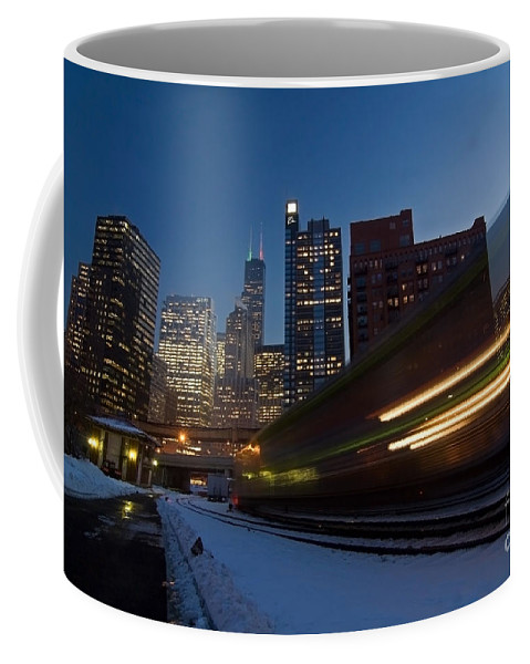 Chicago Skyline Coffee Mug featuring the photograph Chicago Train Blur by Sven Brogren
