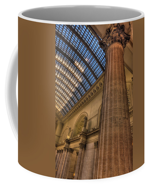 Train Coffee Mug featuring the photograph Chicago Union Station Column by Steve Gadomski