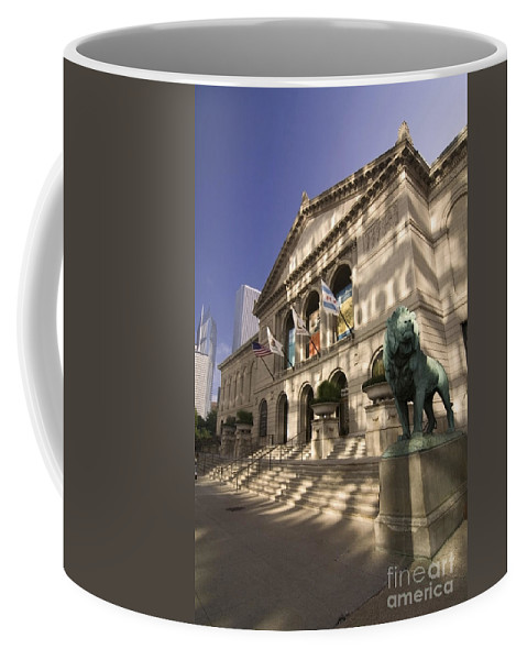 Chicago Art Institute Coffee Mug featuring the photograph Chicago's Art Institute In Reflected Light. by Sven Brogren