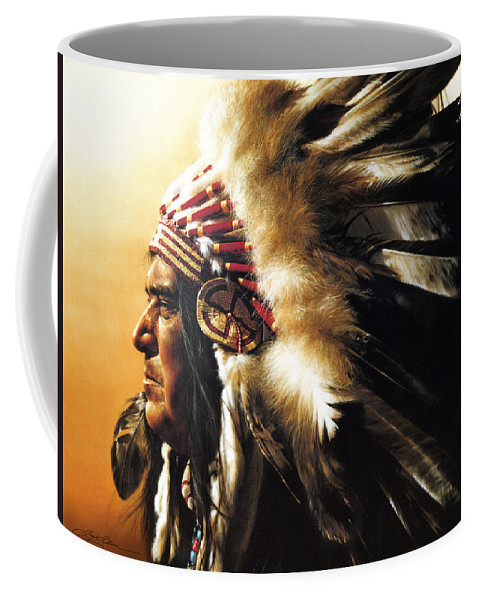 Native American Coffee Mug featuring the painting Chief by Greg Olsen