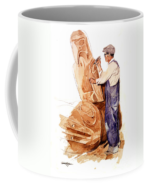 Totem Poles Coffee Mug featuring the painting Chief Mungo Martin Totem Carver by David Lloyd Glover