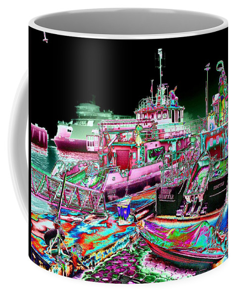 Seattle Coffee Mug featuring the digital art Chief Seattle In The Fog by Tim Allen