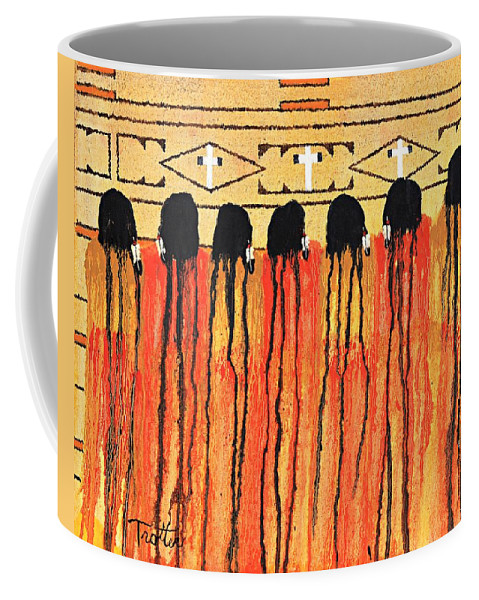 Indians Coffee Mug featuring the painting Chiefs Blanket by Patrick Trotter