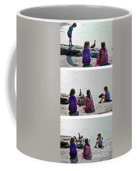 Children Coffee Mug featuring the photograph Children At The Pond Triptych by Madeline Ellis
