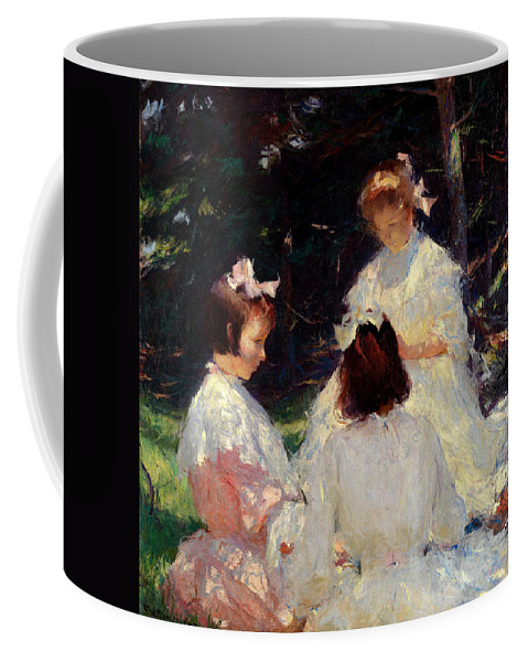 Frank W. Benson Coffee Mug featuring the painting Children In Woods by Frank W Benson