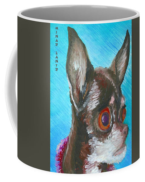 Dog Coffee Mug featuring the painting Chili Chihuahua by Minaz Jantz