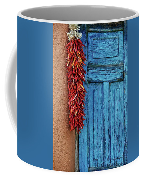 Southwest Coffee Mug featuring the photograph Chili Peppers and Door Panel by Zayne Diamond Photographic