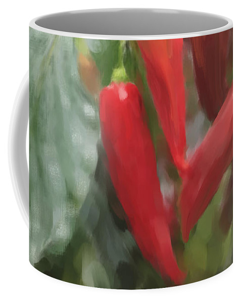 Chillis Coffee Mug featuring the painting Chili Peppers by Portraits By NC