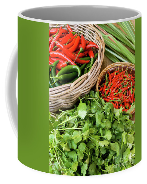 Basket Coffee Mug featuring the photograph Chillies 07 by Rick Piper Photography