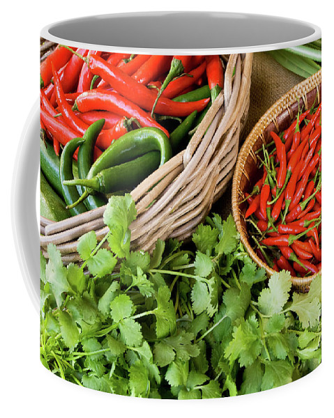 Basket Coffee Mug featuring the photograph Chillies 08 by Rick Piper Photography