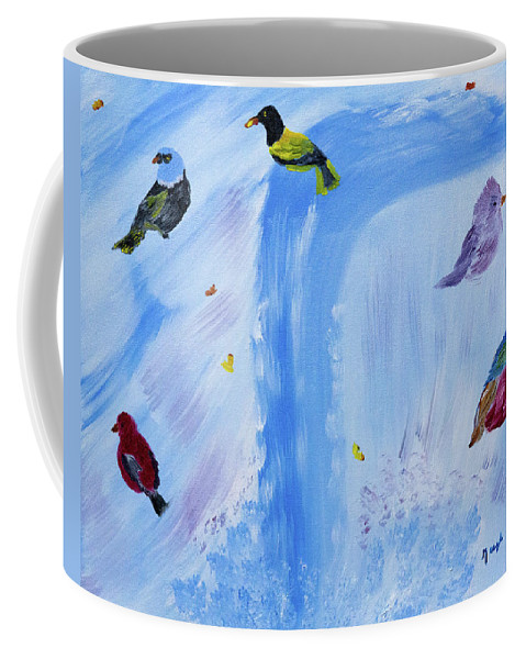Waterfalls Coffee Mug featuring the painting Chimes Of A Waterfall Dream by Meryl Goudey