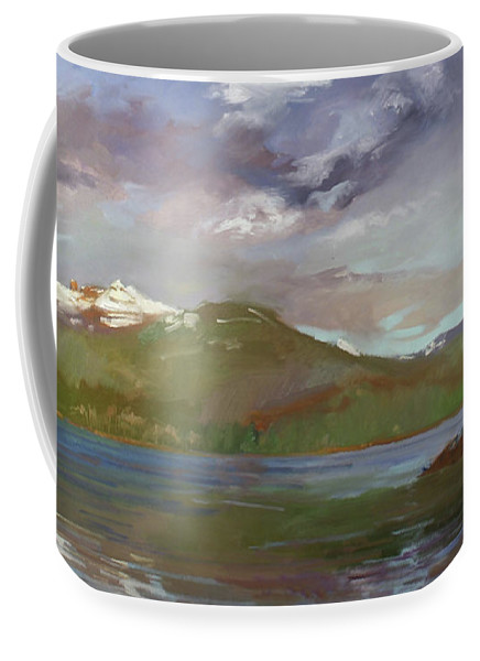 Murals Coffee Mug featuring the painting Chimney Rock at Priest Lake Plein Air by Betty Jean Billups