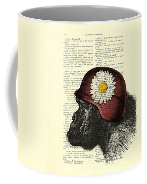 Chimp Coffee Mug featuring the digital art Chimpanzee With Helmet Daisy Flower Dictionary Art by Madame Memento