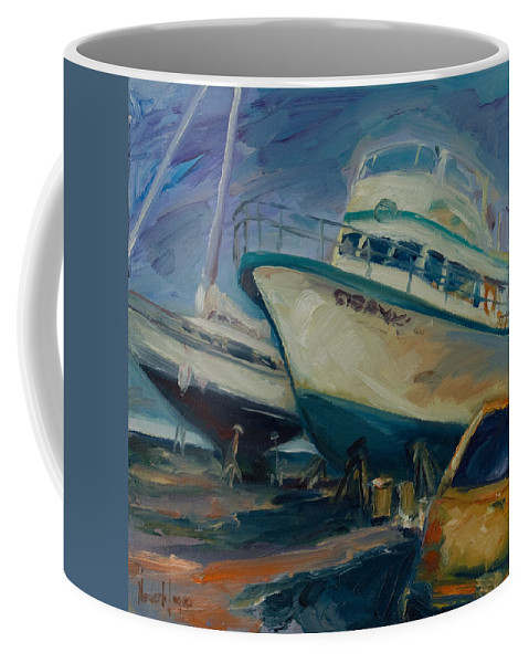 Boats Coffee Mug featuring the painting China Basin by Rick Nederlof