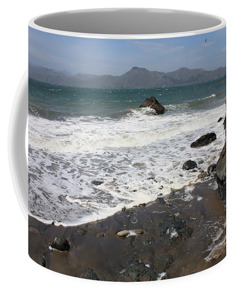 San Francisco Coffee Mug featuring the photograph China Beach With Outgoing Wave by Carol Groenen
