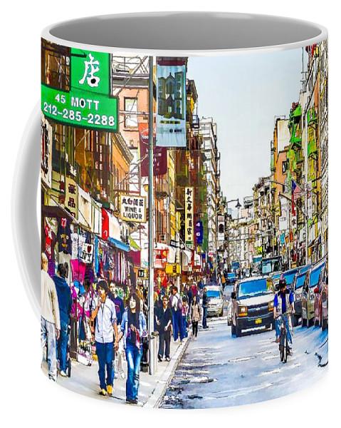 Chinatown In New York City Coffee Mug featuring the painting Chinatown In New York City 2 by Jeelan Clark