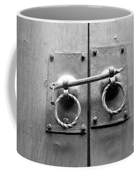 Door Coffee Mug featuring the photograph Chinese Door And Lock - Black And White by Carol Groenen